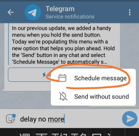 telegram schedule message